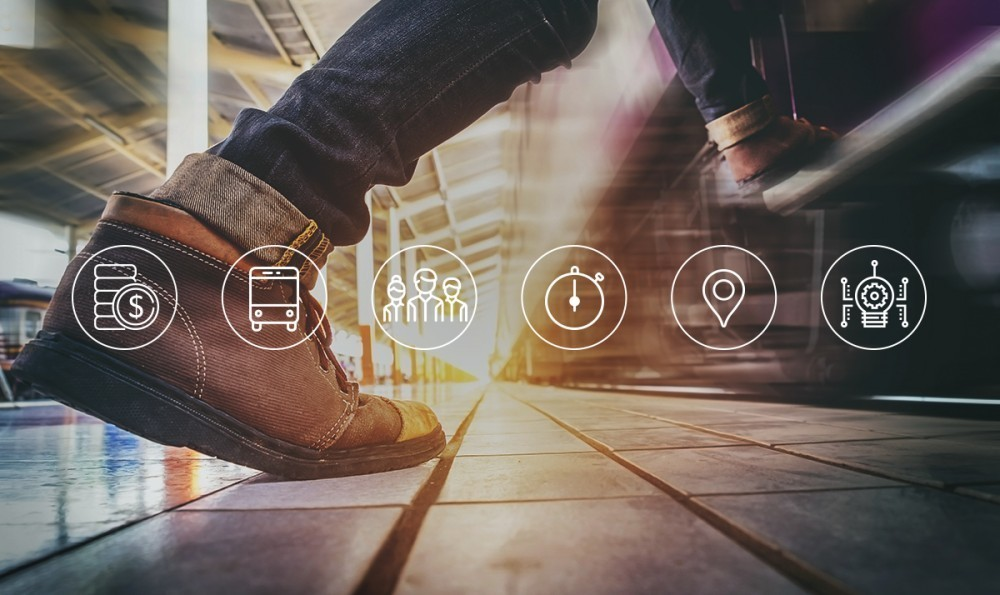 Closeup of person walking with Trapeze solutions icons