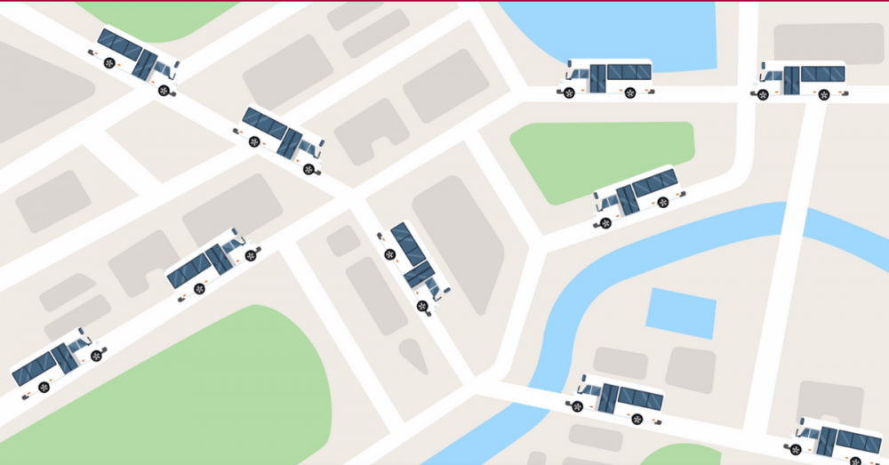 Still shot of animation featuring a number of buses on different routes on a street map.