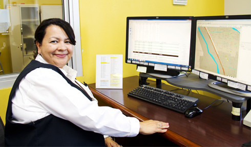 SunTran employee on computer