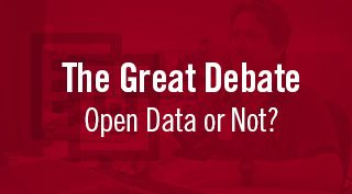 Red block with The Great Debate - Open Data or Not?